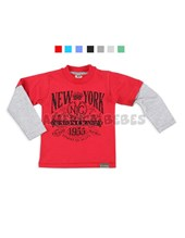 REMERA NENE M/L COLOR C/ ESTAMPA NEW YORK. JERSEY GAMUZADO. COLORES SURTIDOS. BABY CHEITO.