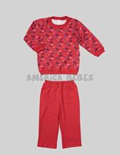 Pijama Varon buzo est. pant. Liso Estampado BICICLETAS. Colores surtidos. Naranjo.