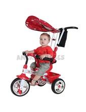 Triciclo MEGA 3 en 1. Color rojo.Barral de empuje extraible.  Biemme.