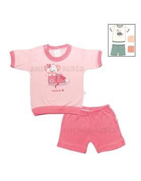 Pijama Remera m/c y short BB Nena estamp.Colores surtidos. Naranjo.