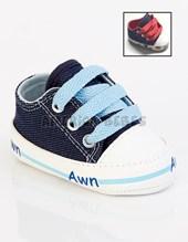 Zapatilla bebe jean c/cordón. Colores surtidos. Arwin.