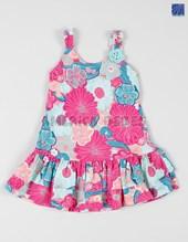 Vestido nena en algondon estampado. Colores surtidos. Poninos.