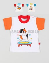 Remera varón lisa con dibujo con relieve estampado. Colores surtidos. Pachi.