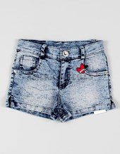 Short niña denim elastizado estampado. Facheritos.