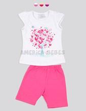 Conjunto mini bebé nena con manga fruncida, estampa y calza. Colores surtidos. Ruabel.