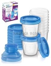 Set  10 Vasos 180Ml para almacenamiento de leche materna con adaptador extractores. Anti goteo. Avent.