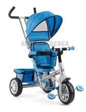 Triciclo Confort con butaca giratoria en 360º y 3 puntos de inclinación. Color Celeste. Biemme.