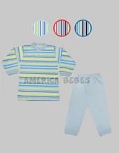 Pijama bebes combinado con rayas. Colores surtidos. Gamise.
