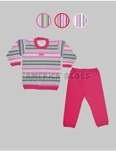 Pijama M/L combinado rayado. Colores surtidos. Gamise.