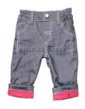 Pantalon mini bebe jean forrado en interlock estampado. Puntapie.