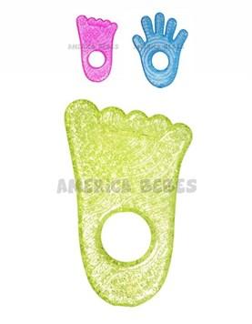 Mordillo refrigerante Munchkin. Pie y manito. Colores Verde,Celeste y Rosa.
