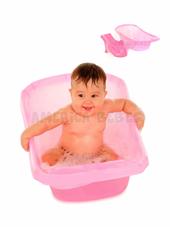 Bañera con reductor (PRESENTADO EN CAJA DE REGALO). Capacidad 26 litros. Tapon de desague. Color Rosa. Ok Baby.