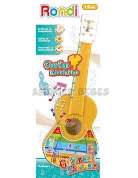 Guitarra española de juguete para bebes. Cuerdas y clavijas ajustables. +2 años. Rondi