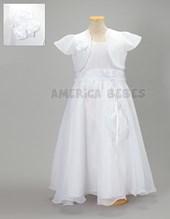 Vestido comunion con cinto y pechera bordado con flores raso. America