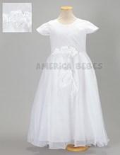 Vestido comunion con pechera de broderi y flores en cintura. America