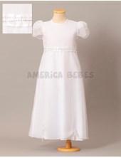Vestido de comunion con faja organza cristal y strass en cintura. Children Dior.