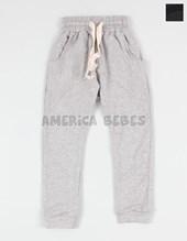 Pantalon niño babucha rustico negro y gris. con cinto. Colores surtidos.