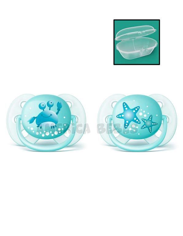 Chupetes nene Ultra suave y flexible 0-6 meses Ortodóntico y sin BPA 2 unidades.  Avent.