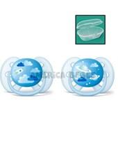Chupetes nene Ultra suave y flexible 6-18 meses Ortodóntico y sin BPA 2 unidades.  Avent.