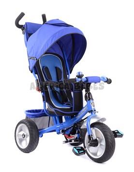 Triciclo premium con ruedas de goma,asdiento acolchado,capota y bolso. Barral de empuje. Color Azul. Biemme.