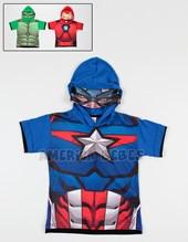 Remera Nene M/C estampada Avengers capucha con mascara. Disney Licencia.