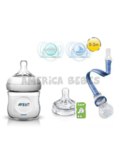 Combo Set Natural recien nacido nene incluye: Mamadera de 125 ml, Tetina, Clip Porta Chupete, Chupetes (0-2m) x2. Avent.