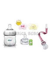 Combo Set Natural recien nacido nena incluye: Mamadera de 125 ml, Tetina, Clip Porta Chupete, Chupetes (0-2m) x2. Avent.