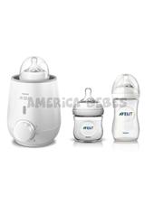 Combo set calentar.  Incluye un rápido calentador de mamaderas, mamadera de 125 ml., y mamadera de 260 ml. Avent.