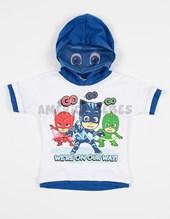 Remera bebe M/C estampada  Pj masks capucha con mascara. Disney Licencia.