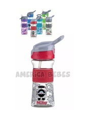 Vaso Reflex 360ml Sistema exclusivo que abre la boquilla apretando un botón. Colores surtidos. Nuby.