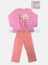 Pijama nena estampado. Colores surtidos.  Naranjo.