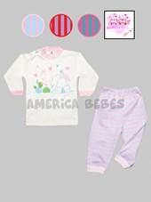 Pijama M/L estampado beba rayado y estampado. Colores surtidos. Gamise