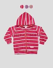 Camperita con capucha y cierre plush nena rayado exterior. Colores surtidos. Gamise.