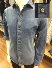 Camisa niño M/L  elastizada de jean con boton de madera. Popeye Kids.