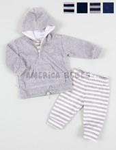 Conjunto mini bebe plush buzo liso con pantalon rayado. Colores surtidos. Poninos.