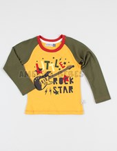 Remera M/L bebe jersey estampa  rock star. Colores surtidos. Fachertitos.