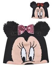 Gorro tejido MInnie con orejas y moño. Colores surtidos. Disney Licencia.