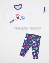 Pijama beba M/L estampado algodon y lycra. Colores surtidos. Naranjo.