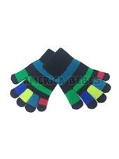 Guantes tejidos niños dedos multicolor.