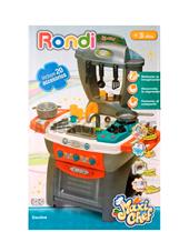Cocina Maxi Chef PLATEADA con 20 accesorios , sonidos, luz en el horno, lava con agua. Rondi