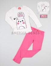 Pijama nena remer ainterlock c/collareta en ribb. Pantalon interlock recto. Colores surtidos. Elemento.