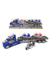 Camion transportador rueda libre. Super truck con 3 motos. Rayuela juguetes.