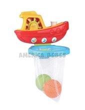 Juguete de baño para bebes barco pescador con 2 pelotas. Edad: +12 meses. Zippy Toys.