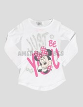 Remera nena M/L estampado Minnie. Disney Licencia.
