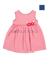 Vestido bebe rayas con espalda y cruzada y flores bordadas al frente.  Colores surtidos.  Cherto Kids.