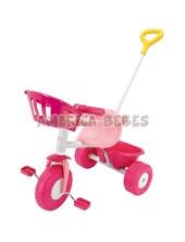 Triciclo Pink de metal. Embrague,  canasto para muñecos,  barra de arrastre direccional. Aro de contención y portaobjetos. Rondi.