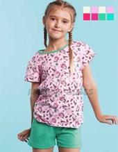 Pijama nena remera estampa unicornio c/cuello collareta y short a contratono. Elemento.