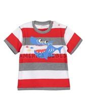 Remera bebe rayada c/estampa tiburon. Colores surtidos. Gepetto.