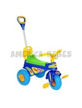 Triciclo a pedal  ROLLER. Barral.  Respaldo y guarda juguetes bajo el asiento.  Biemme.