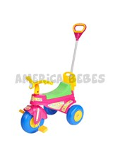 Triciclo a pedal LADY.  Respaldo y guarda juguetes bajo el asiento.  Biemme.